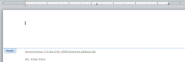 how to put header only on first page