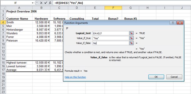 How to use the excel if function