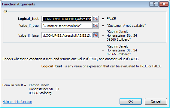 How to use the excel iserror function