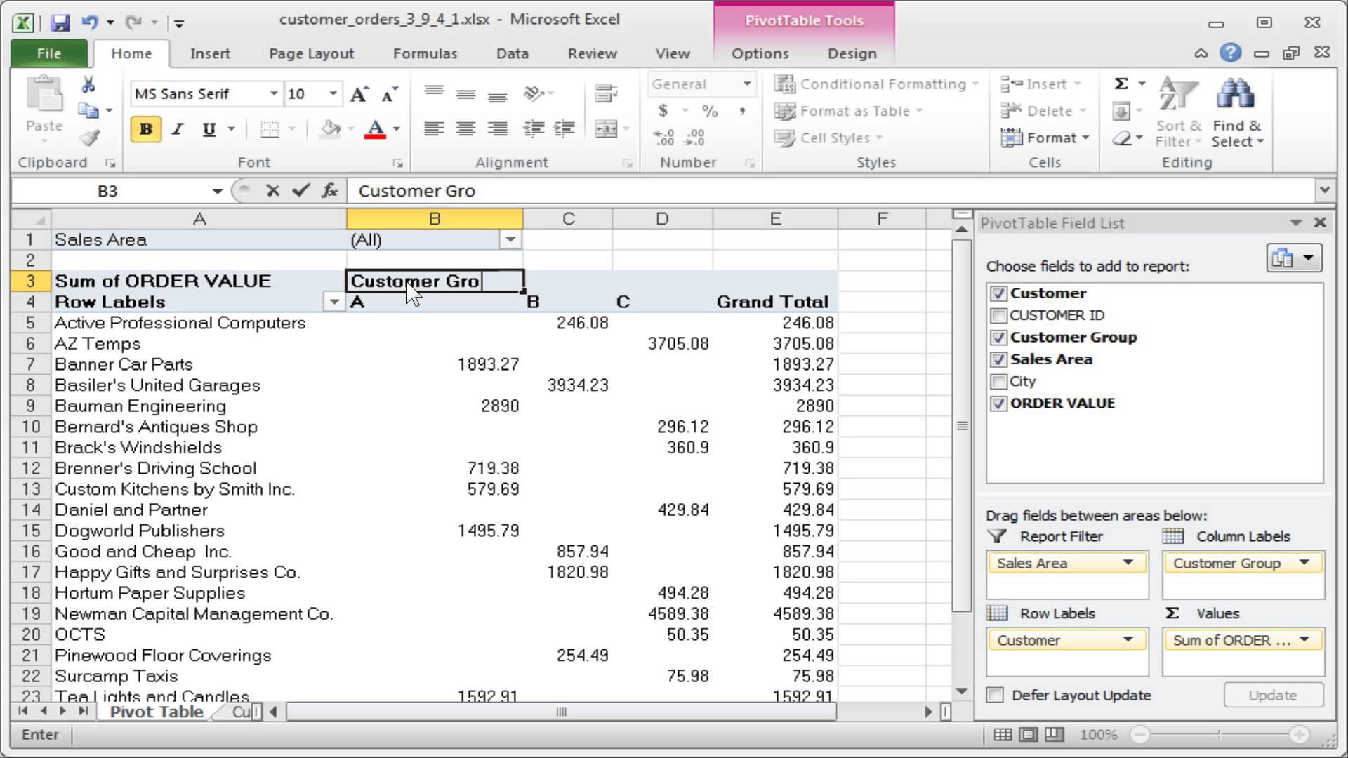 Excel pivot table how it works for Html table formatting