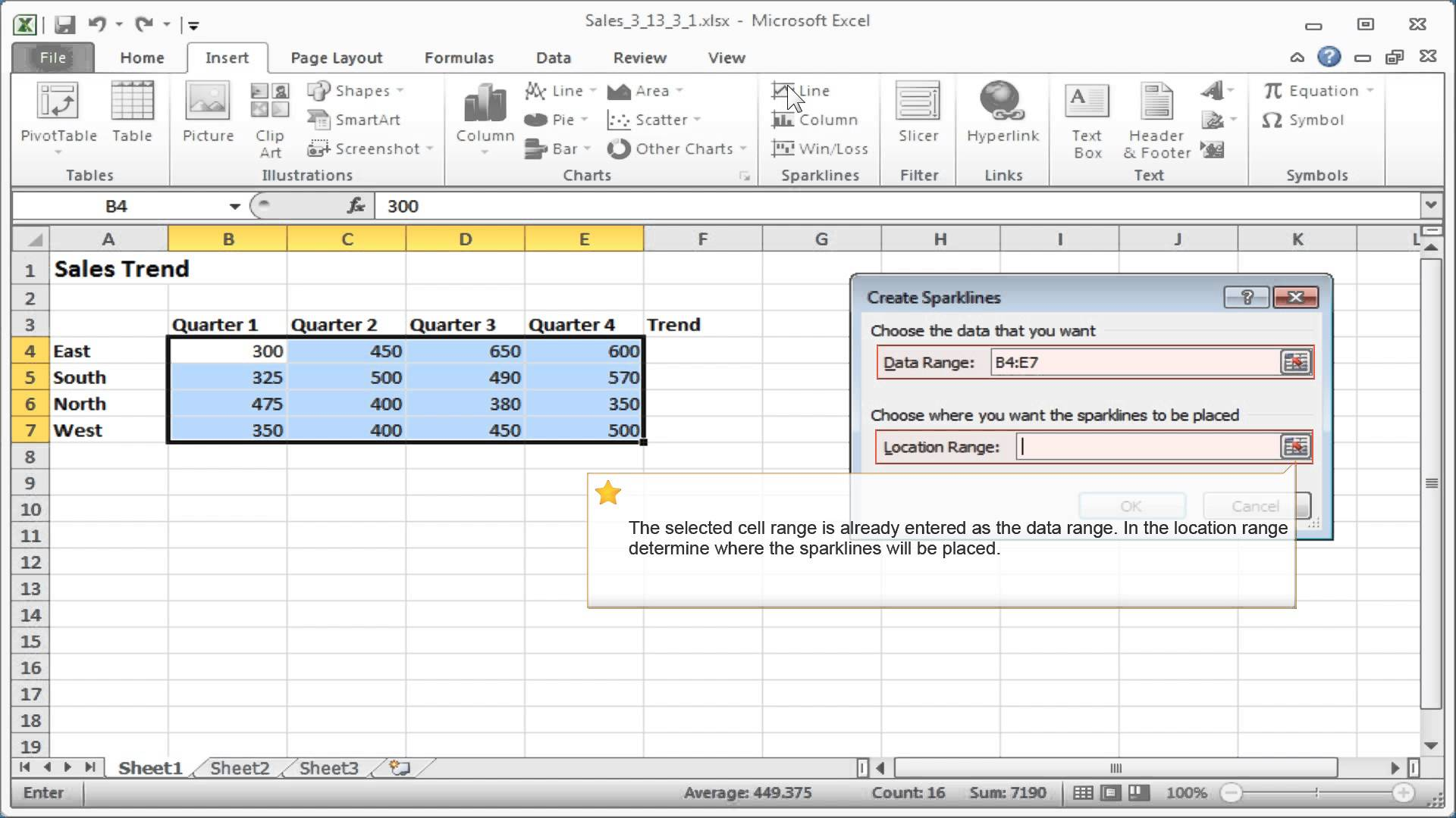 excel sparklines  how to insert and delete sparklines