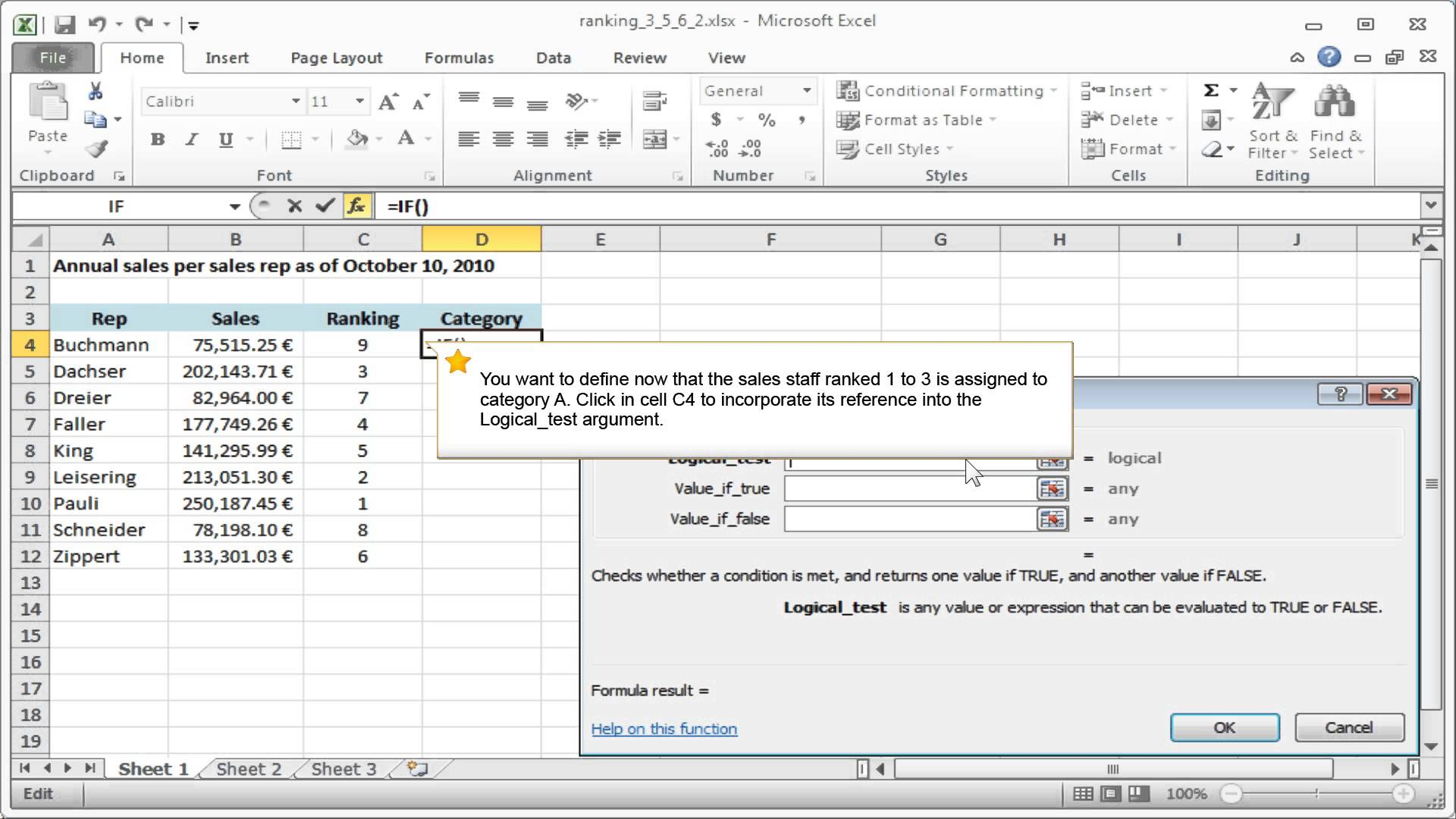 how to write nested if in excel