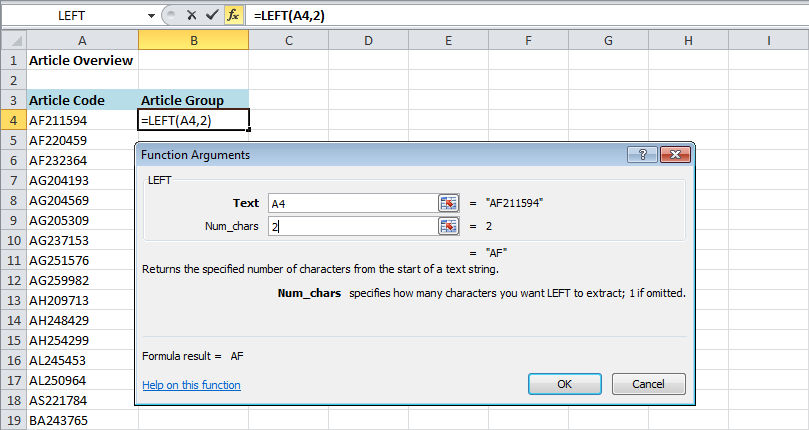 How to use the excel left and right functions