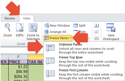 how to lock a row or column in excel 2010