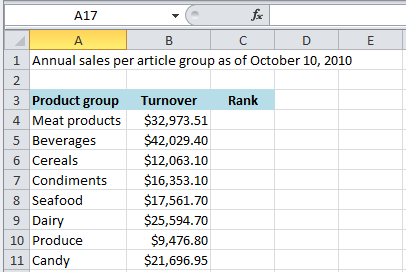Excel: The RANK function