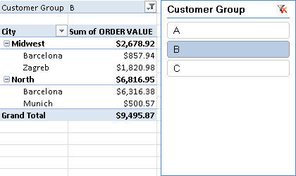 How to use excel slicers